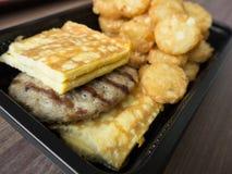 Amerikanisches Frühstück der ungesunden Fertigkost ungesund Stockfoto