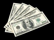 Amerikanisches Geld auf schwarzem Hintergrund Lizenzfreies Stockfoto