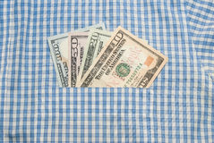 amerikanisches Geld in der Tasche Stockfoto