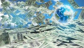 Amerikanisches Geldfallen Gegen Hintergrund von Lizenzfreie Stockbilder