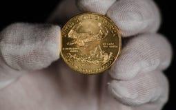 Amerikanisches Gold Eagle Being Held White Gloves Stockbild