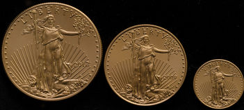 Amerikanisches Gold Eagles klein, mittelgroßer schwarzer Hintergrund Lizenzfreie Stockbilder