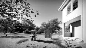 Amerikanisches Haus in der ländlichen Wiedergabe der Einstellungen 3d Lizenzfreies Stockbild