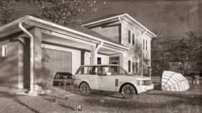Amerikanisches Haus in der ländlichen Wiedergabe der Einstellungen 3d Stockfoto
