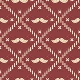 Amerikanisches Hippie-Schnurrbart-Schottenstoff-Plaid und Argyle Vector Patterns in patriotischem Rotem, weiß und blau Juli 4. od lizenzfreie abbildung