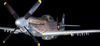 Amerikanisches Kampfflugzeug vom Koreakrieg, lokalisiert auf Schwarzem Lizenzfreies Stockfoto