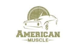 Amerikanisches Muskel-Logo lizenzfreie abbildung