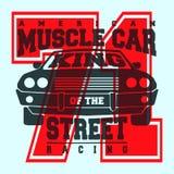 Amerikanisches Muskelautot-shirt Druckdesign Lizenzfreie Stockfotos