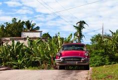 Amerikanisches Oldtimerparken unter einem blauen Himmel in Kuba Stockfotografie