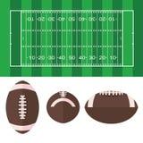 Amerikanisches Symbol des amerikanischen Fußballs des Fußballplatzes und des Balls lizenzfreie abbildung
