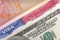 Amerikanisches Visum auf Seite des internationalen Passes und DER US-Dollars, Nahaufnahme Stockbild