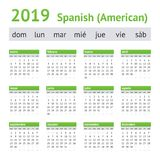 Amerikankalender för 2019 spanjor stock illustrationer