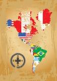 amerikansk återhållsam norr sout stock illustrationer