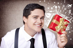 Amerikansk affärsman med den magical loppgåvan. Royaltyfri Foto