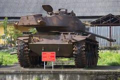 Amerikansk behållare M-41 med ett utvidgat torn i museet av tonstaden vietnam Royaltyfria Foton