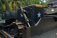 Amerikansk bulldozer på skärm på krigkvarlevamuseet Royaltyfria Bilder
