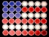 amerikansk chipflaggapoker Arkivbild