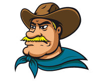 Amerikansk cowboy eller sheriff royaltyfri illustrationer