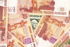 Amerikansk dollar av ryska rubel Arkivfoton