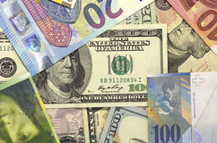 Amerikansk dollar, euro och schweizisk franc för pengarbakgrund arkivbilder
