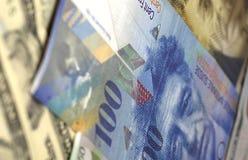 Amerikansk dollar, euro och schweizisk franc för pengarbakgrund Royaltyfri Fotografi
