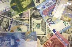Amerikansk dollar, euro och schweizisk franc för pengarbakgrund Royaltyfria Foton