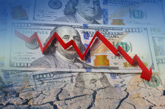 Amerikansk dollar, finanskris i den röda pilen Arkivfoton