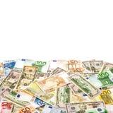 Amerikansk dollar och eurosedel 5000 roubles för modell för bakgrundsbillspengar Arkivfoton