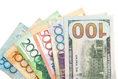Amerikansk dollar och Kasakhstan tenge fotografering för bildbyråer