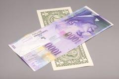 Amerikansk dollar och schweizisk francvaluta royaltyfri bild