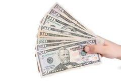 amerikansk dollarhand Fotografering för Bildbyråer