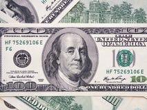 Amerikansk dollarsedel för Closeup sedeldollar hundra en royaltyfri fotografi