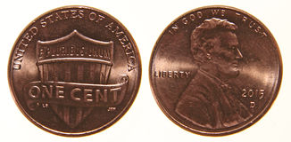 Amerikansk encentmynt från 2015 Arkivbild