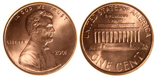 Amerikansk encentmynt från 2001 Arkivfoton
