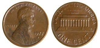 Amerikansk encentmynt från 1977 Fotografering för Bildbyråer
