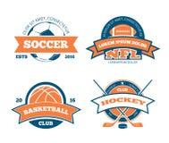 Amerikansk fotboll, basket, fotboll, etiketter, emblem, logoer och emblem för vektor för hockeysportlag Arkivfoton