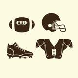 Amerikansk fotboll för plana symboler Arkivbild
