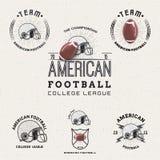 Amerikansk fotboll förser med märke logoer och etiketter för några Royaltyfria Bilder