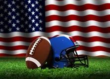 Amerikansk fotboll med hjälmen och flaggan Royaltyfri Bild
