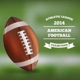 Amerikansk fotboll på Blured bakgrund vektor Royaltyfria Foton