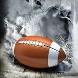 Amerikansk fotboll över grungebakgrund Royaltyfria Bilder