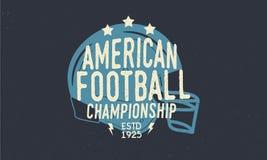 amerikansk fotbollhjälm Fotbollmästerskaplogo Moderiktig retro logo Tappningaffisch med text och konturn av hjälmen Templa vektor illustrationer