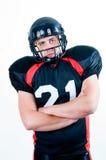 amerikansk fotbollhjälmspelare Royaltyfri Bild