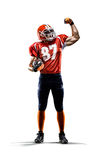 Amerikansk fotbollsspelare i isolerad handlingvit Royaltyfri Bild