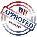 Amerikansk godkänd kvalitets- stämpel Arkivbilder
