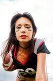 amerikansk härlig fotbollkvinna Arkivfoton