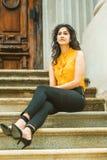 Amerikansk högskolestudent för östlig indier i New York royaltyfria bilder