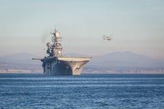 Amerikansk hangarfartyg Fotografering för Bildbyråer