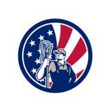 Amerikansk industriell symbol för rengöringsmedelUSA flagga Royaltyfri Fotografi