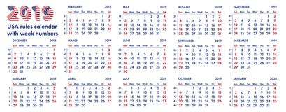 2019 amerikansk kalenderveckor illustration Royaltyfria Foton